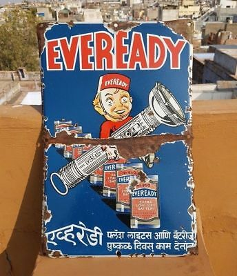 Original Vintage Old Antique Rare Eveready Torch Ad Porcelain Enamel Sign Board