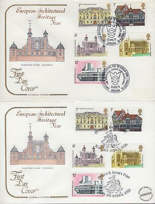 GB 1975 European Architectural Heritage, Pair Cotswold FDCs with Good Hand Stamp