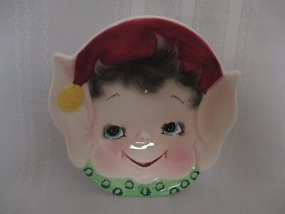 Lefton  ESD Pixieware Christmas Pixie Elf Big Ears Xmas Hat  Bowl / Candy Dish