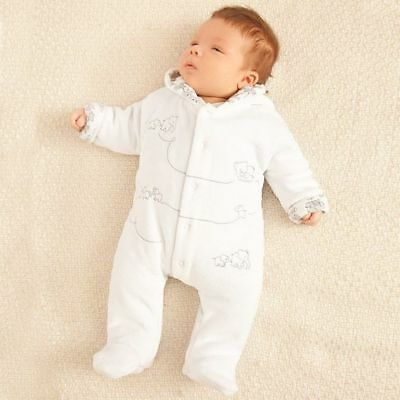 Jojo Maman Bebe White Embroidered Velour Pramsuit All-In-One RRP£28 0-12 Months
