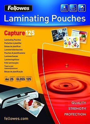 A4 Fellowes '160 & 250 Micron' Gloss Clear Laminating Pouch Sleeves