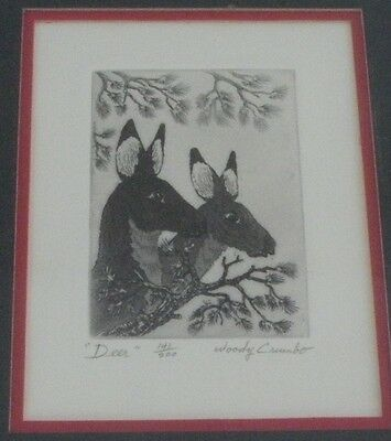 "Woody Crumbo Native Potowatomi limited edition signed ""Deer"" small etching"