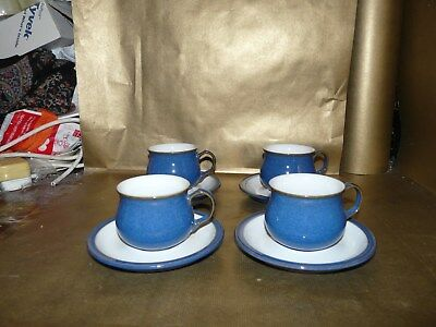 denby imperial blue set of 4 x tea cups and saucers