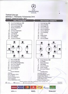 2018/19      Young Boys Berne     v     Manchester United    Colour Teamsheet