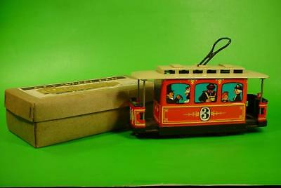 VINTAGE TIN LITHO 1950s 60s TROLLEY TRAIN CAR JAPAN FRICTION WITH BOX