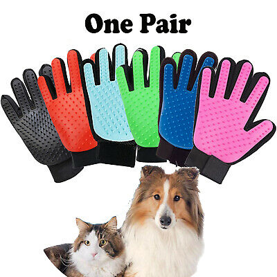Pet Grooming Glove Brush Dog Cat Fur Hair Removal Mitt Massage Deshedding