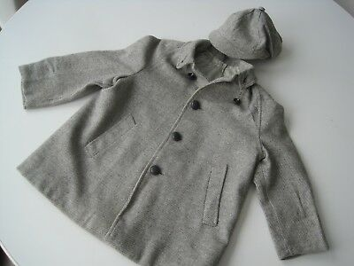 Vintage Fancy Winter Kids Outfit Jacket Coat Hat White Grey Wool Childs Size 4