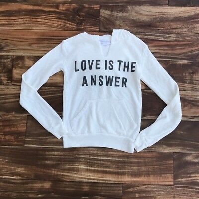 Spiritual Gangster Girls Love is The Answer White Long Sleeve Girls Hoodie Sz S