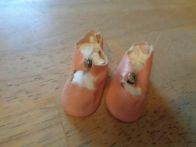"""1 Pair Vintage Oil Cloth  Doll Shoes 2 1/4"""" Long~USED~#7"""