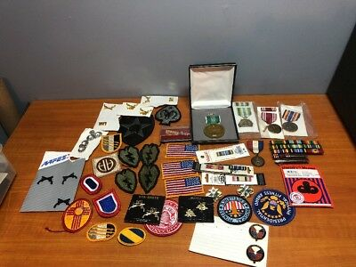 Huge Lot of 59 Pieces Vintage Military Patches, Medals, & Other Various Items