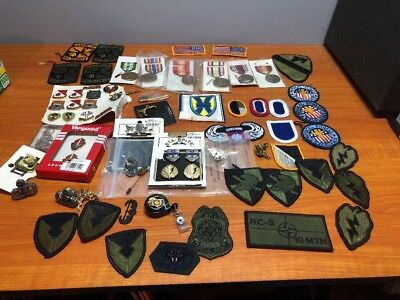 Huge Lot of 68 Pieces Vintage Military Patches, Medals, & Other Various Items