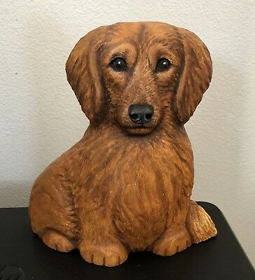WOOD Carved Long Haired Dachshund DOG Sculpture Lisa Rogers OOAK Wood Carving