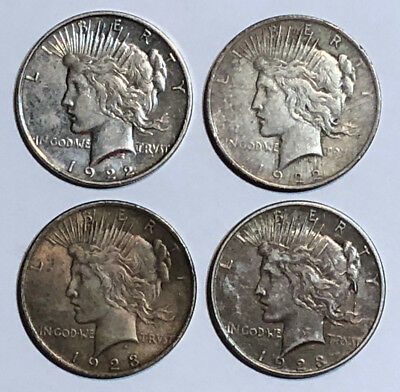 A Lot of 4 Cull $1 Silver Peace Dollars