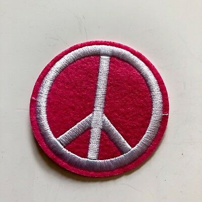 Pink Peace Sign Collection Jacket Sew Iron On Embroidered Patch Applique