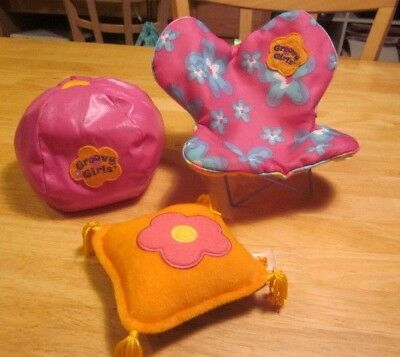 Groovy Girls Pink Bean Bag & Butterfly Chairs Plus Pillow from Manhattan Toy