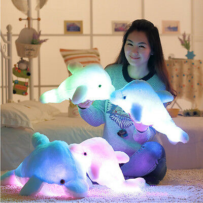 Hot LED Light Up Flash Dolphin Plush Throw Pillow Stuffed Toys Soft Cushion Doll