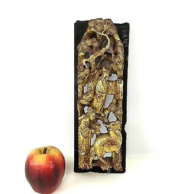 """Vintage Chinese Deep Wood Carving Panel of Charchters 12.5"""" by 4.3"""""""