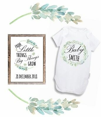 Pregnancy Announcement Reveal Baby Bodysuit and A4 Print set