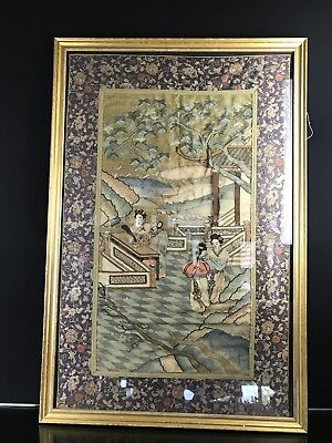 High Quality Large Antique 19th Century Chinese Kossu Kesi Silk Panel NO RESERVE