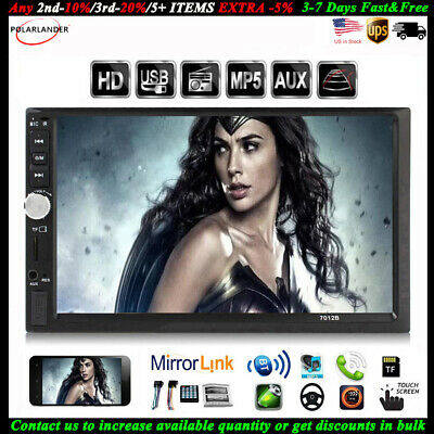 7'' 2 DIN Touch Screen Car Radio Audio USB/TF/AUX/FM/Remote Stereo MP5 Bluetooth