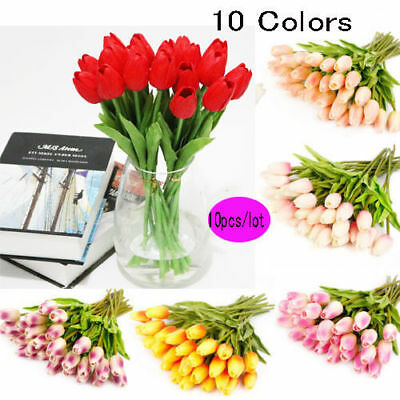 10X Artifical Real Touch Tulips Flower Bouquet Wedding Brith Party Home Decor #