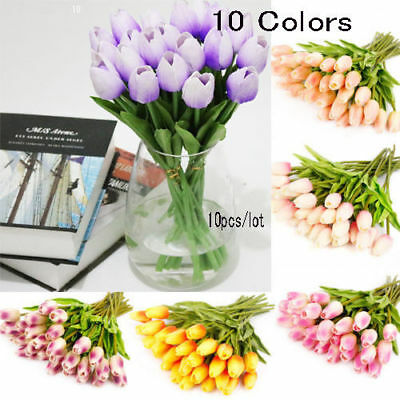 10X Artifical Real Touch Tulips Flower Bouquet Wedding Party Home Decor NEW @2