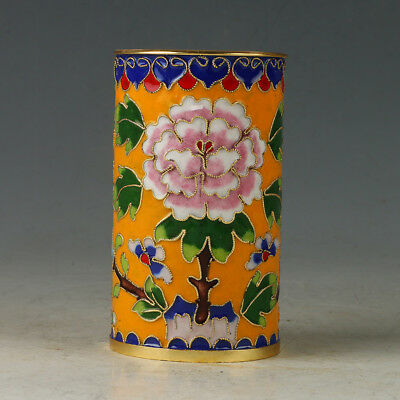 Chinese Exquisite  Cloisonne Hand-made Flowers Brush Pots R0074'