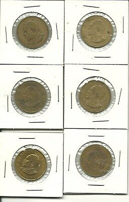 Lot of (6) KENYA 5 Cents Coins 1967 1968 1971 The First President Africa Old