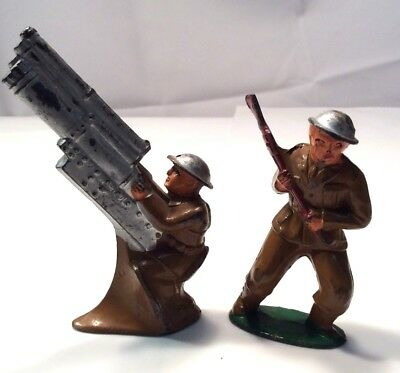 Two Vtg Atq Lead Painted Barclan or Manoil Soldiers Toys w/Guns Military 766/789