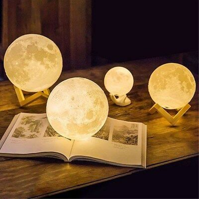 3D Printing Moon Lamp LED Night Light Lunar USB Moonlight Touch Color Changing