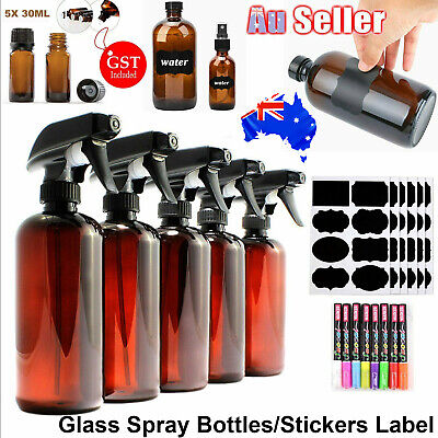 Amber Glass Spray Bottles Aromatherapy Sprayer Oil Bottle Stickers Label Marker