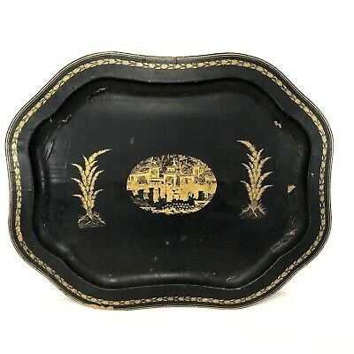"""Large 19th Century Chinese Japanese Lacquerware Wooden Ware 23"""" Tray"""
