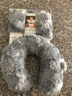 Baby Travel Pillow & Seat Belt Covers Set Grey Blankets & Beyond  New