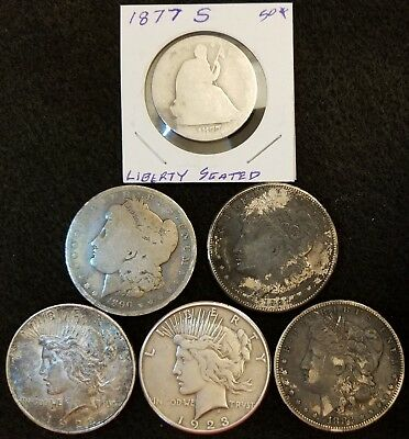 Five (5) Morgan And Peace Dollar Lot With Seated Liberty Half Dollar