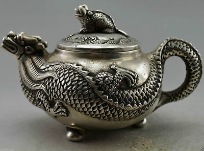 Collectible Decorated Miao Silver Dragon Carved Decorative Handmade Teapot