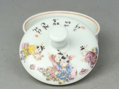Chinese Exquisite Handmade Children and poetry pattern porcelain box