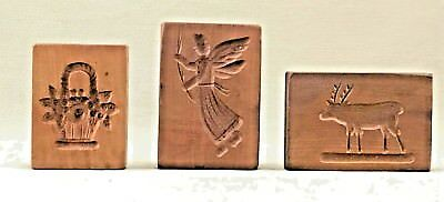 Antique Wood Springerle Biscuit/Cookie Molds - 3 Pieces Classic Designs