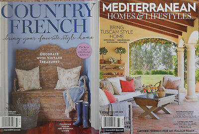 COUNTRY FRENCH & Mediterranean Homes & Lifestyles MEREDITH Lot of 2 Magazines