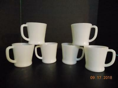 Lot of 6 Vintage Anchor Hocking Fire King D Handle Coffee Cups Mugs Milk Glass