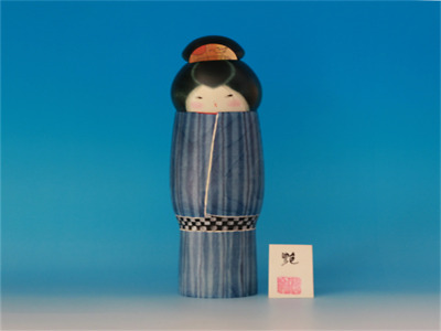 Kokeshi Japanese traditional crafts gloss kimono cute handmade rare F / S!
