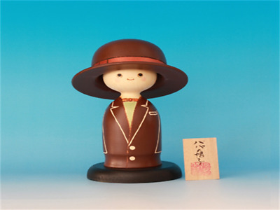 Kokeshi Japanese traditional crafts Dad's hat brown cute handmade rare F / S!