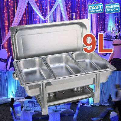 3x3L Bain Marie Bow Food Chafing Dish Stainless Steel Food Buffet Warmer Set 9L