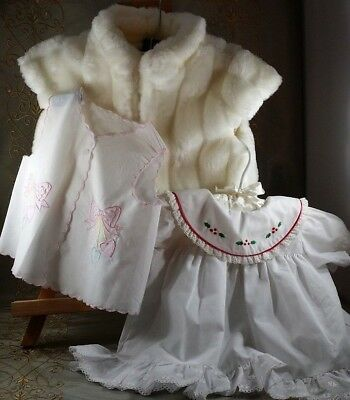 VINTAGE Baby DRESSES Shift FUR VEST 5 PC XMAS DRESS First Impressions 6-12 M++