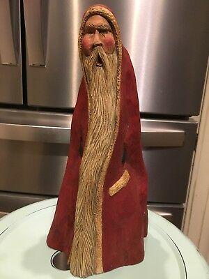 1990 Artist Signed Hand Carved Painted Wood Bellsnickle Christmas Santa Figure