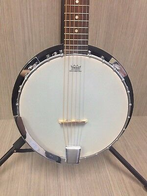 Danville BJ-006 24 Bracket 6-String Resonator Guitar Banjo W Bag Blemished
