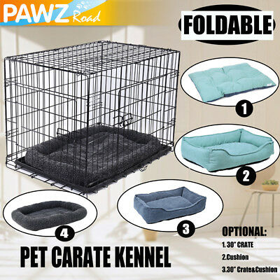 """30"""" Pet Dog Crate 2 Doors Wire Folding Cat Cage Suitcase Kennel Mat Bed Cushion"""