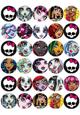 30 x Monster High Mini Cupcake Edible Wafer Cake Toppers