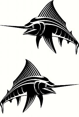 Marlin Fishing Boat Stick Sticker Decal Marine, Mirrored Set of 2