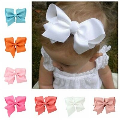 "1pc 5.5"" Big Hair Bows Boutique Girls Baby Alligator Clip Grosgrain Ribbon"