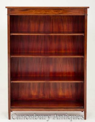 Antique Victorian Open Front Bookcase with Inlay Circa 1900